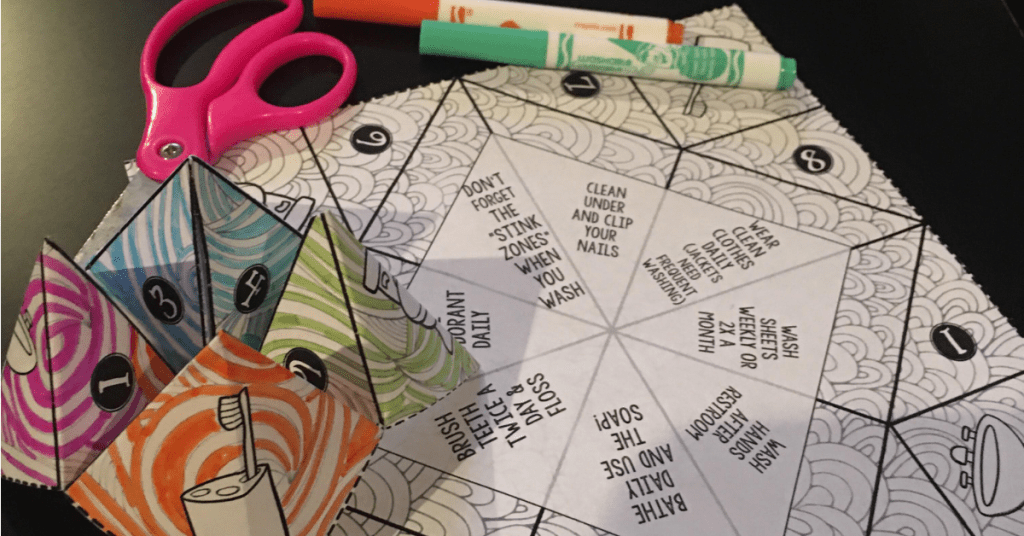personal hygiene cootie catcher craft