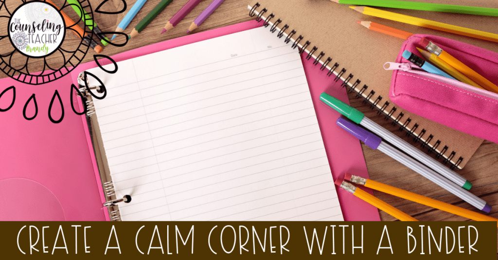 Calm down corners for kids made from a binder