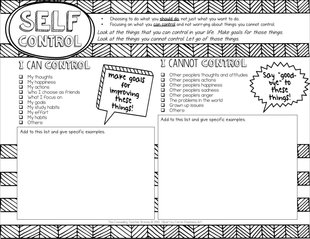 self control worksheet